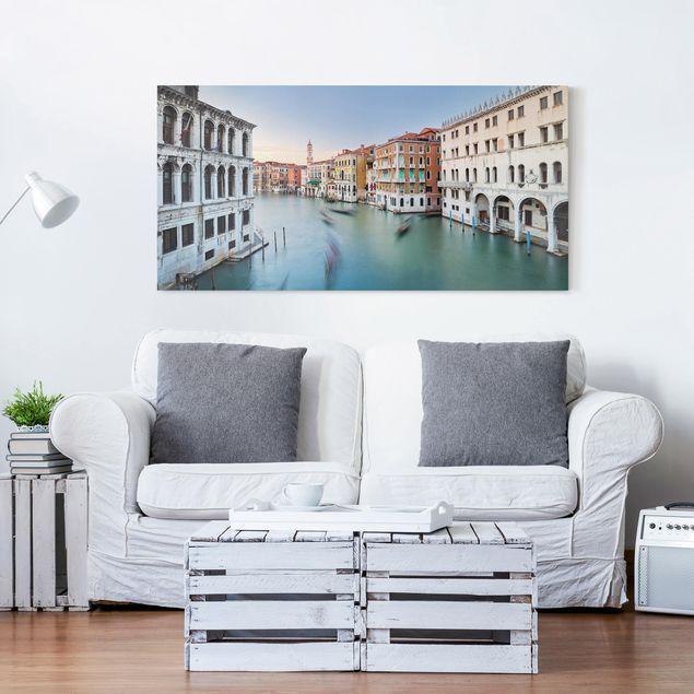 Leinwandbild - Canale Grande Blick von der Rialtobrücke Venedig - Querformat 1:2