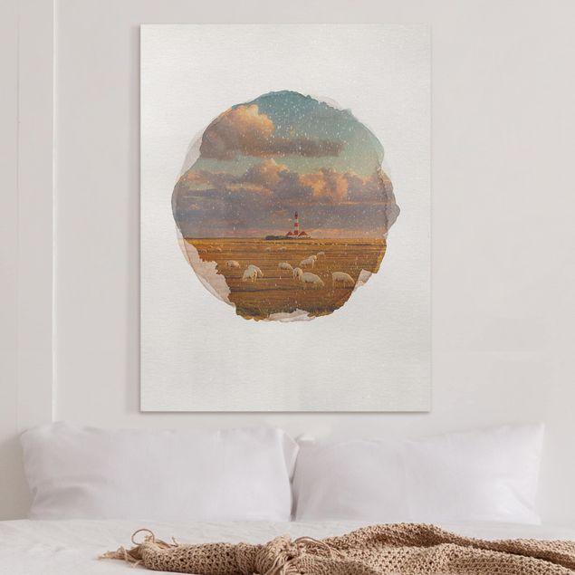 Leinwandbild - Wasserfarben - Nordsee Leuchtturm mit Schafsherde - Hochformat 4:3
