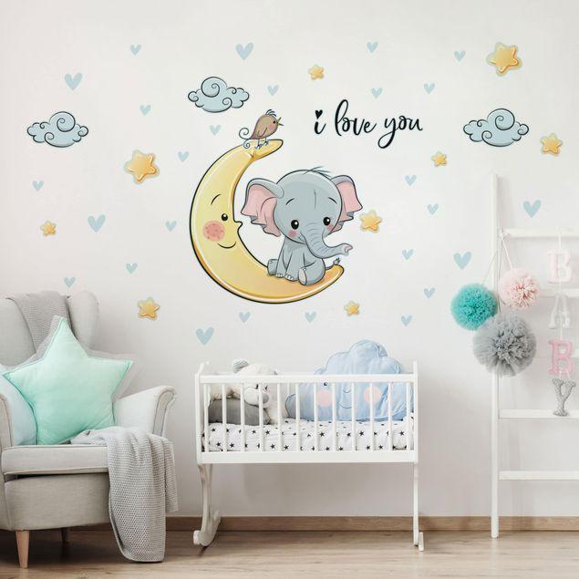 Wandtattoo - Elefant Mond I love You