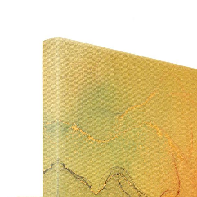 Leinwandbild Gold - Aquarell Pastell Bunt mit Gold - Querformat 3:2