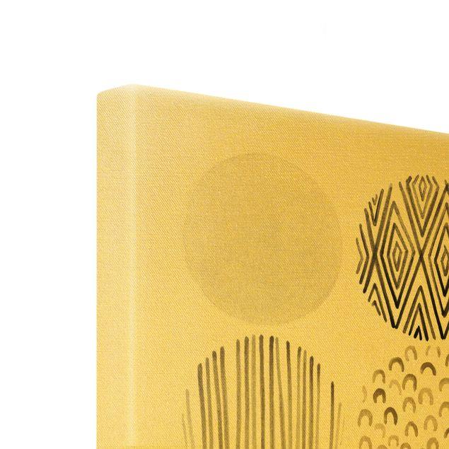 Leinwandbild Gold - Kreismuster Beige II - Hochformat 3:4