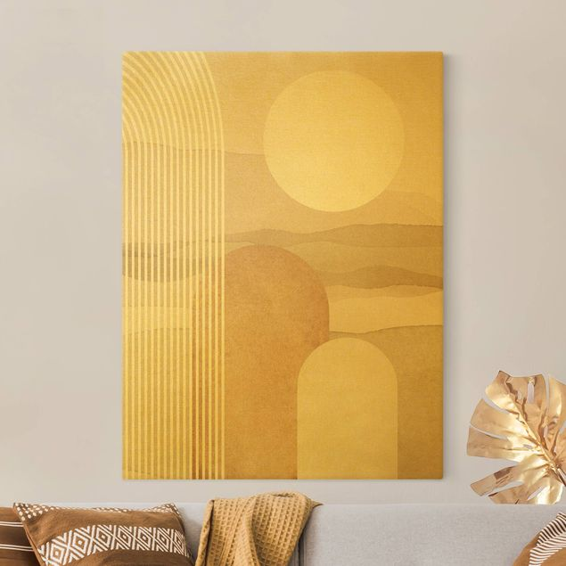 Leinwandbild Gold - Geometrische Formen - Sonnenaufgang - Hochformat 3:4