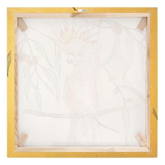 Leinwandbild Gold - Kakadu mit Rosa Federn - Quadrat 1:1