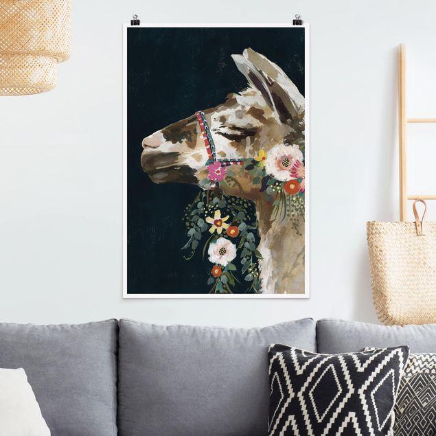 Poster - Lama mit Blumenschmuck II - Hochformat 3:2