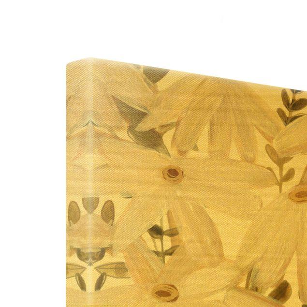 Leinwandbild Gold - Gänseblümchenfeld Weiß Gold - Hochformat 3:4