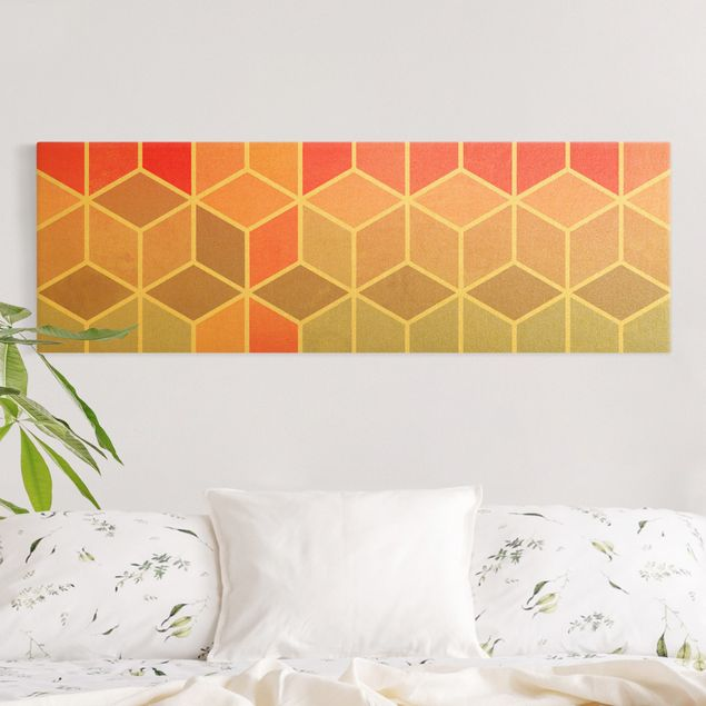 Leinwandbild Gold - Goldene Geometrie - Buntes Pastell - Panorama 3:1