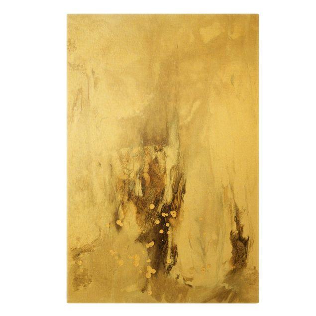 Leinwandbild Gold - Goldener Treibsand II - Hochformat 2:3