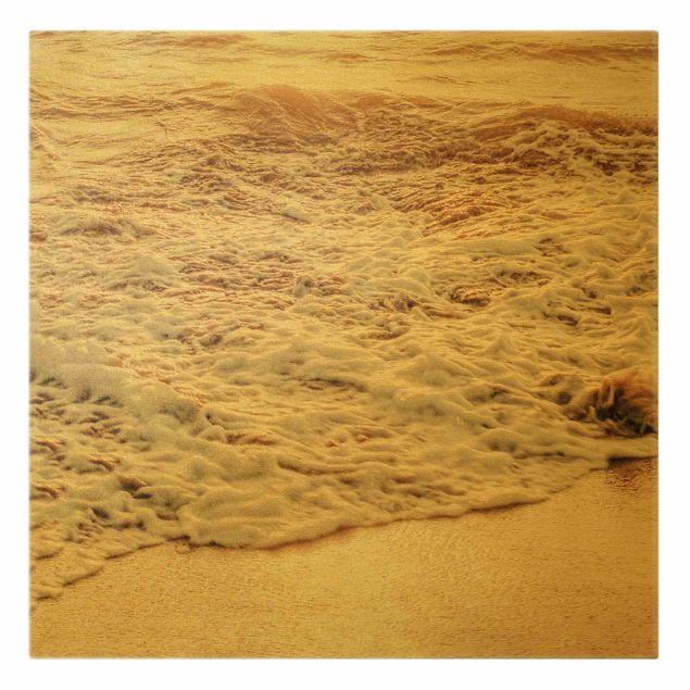 Leinwandbild Gold - Goldener Strand - Quadrat 1:1