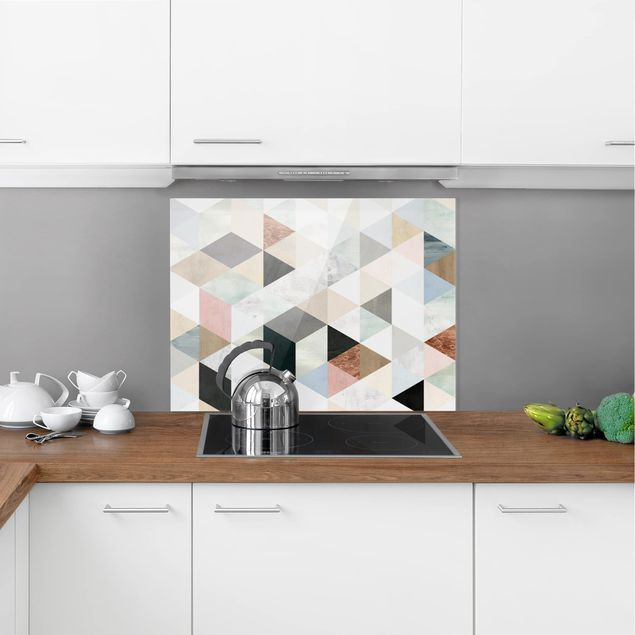 Glas Spritzschutz - Aquarell-Mosaik mit Dreiecken I - Querformat - 4:3