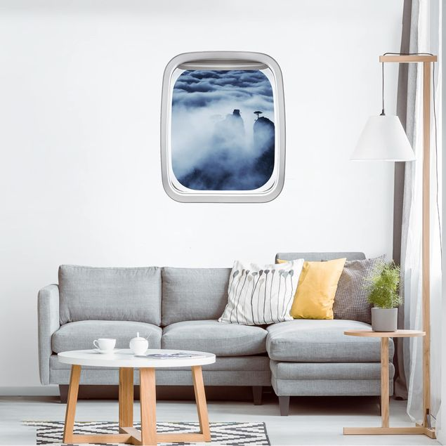 3D Wandtattoo - Fenster Flugzeug Gebirge mit dramatischen Wolken
