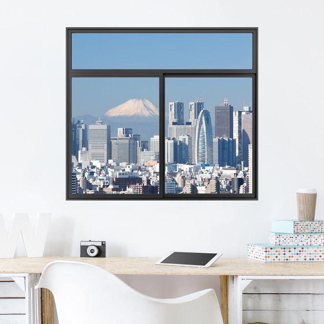 3D Wandtattoo - Fenster Schwarz Tokio vor dem Mount Fuji