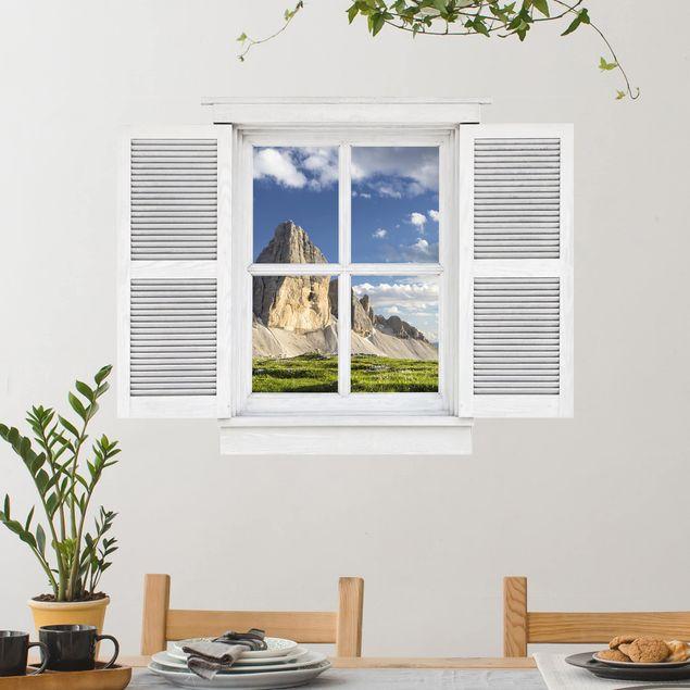 3D Wandtattoo - Flügelfenster Südtiroler Zinnen und Wasserspiegelung