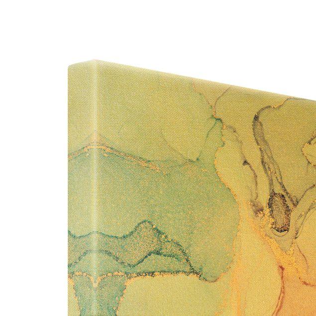 Leinwandbild Gold - Aquarell Pastell Bunt mit Gold - Hochformat 2:3