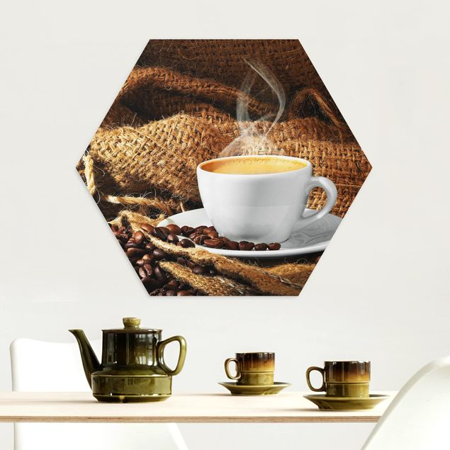 Hexagon Bild Alu-Dibond - Kaffee am Morgen