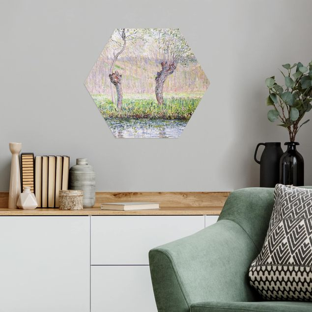 Hexagon Bild Alu-Dibond - Claude Monet - Weidenbäume Frühling