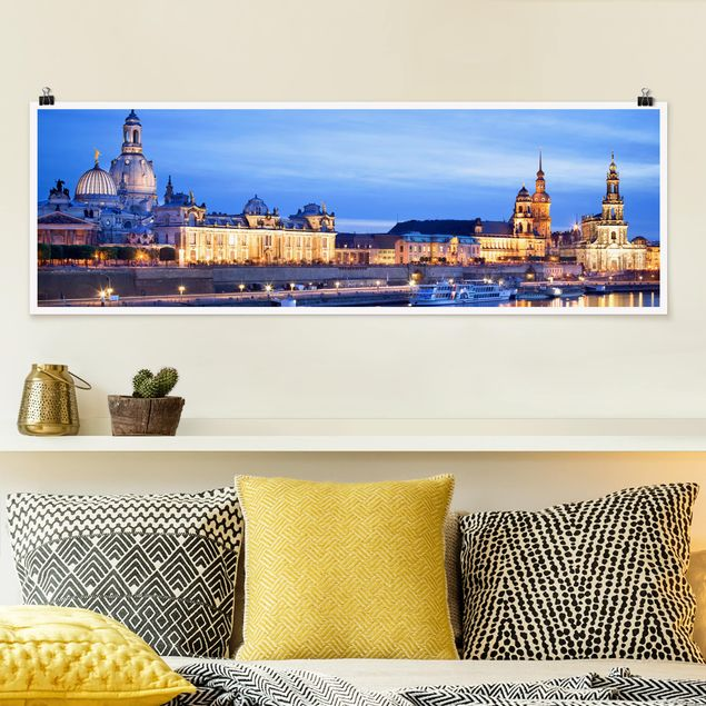 Poster - Canaletto-Blick bei Nacht - Panorama Querformat