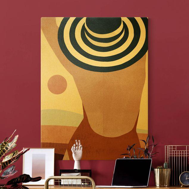 Leinwandbild Gold - Frau im Sonnenschein I - Hochformat 3:4