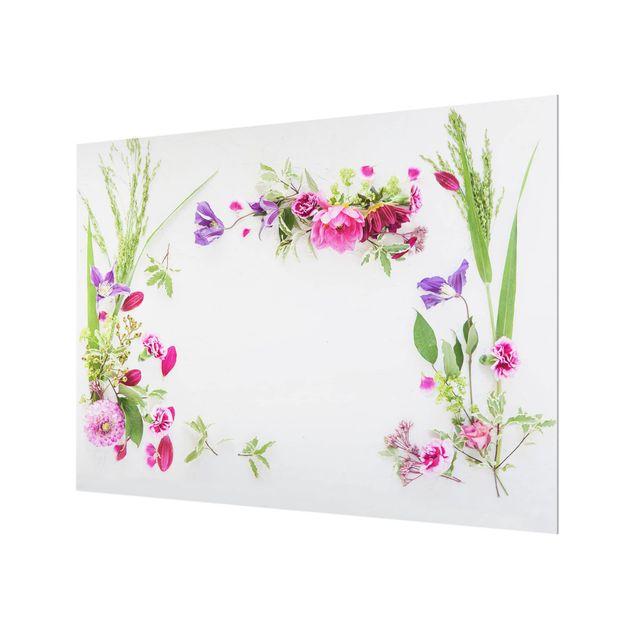Glas Spritzschutz - Blumenarrangement - Querformat - 4:3