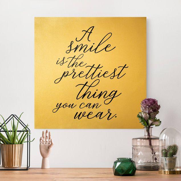 Leinwandbild Gold - A smile is the prettiest thing - Quadrat 1:1