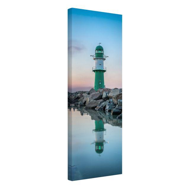 Leinwandbild - Sunset at the Lighthouse - Panorama Hochformat 1:3