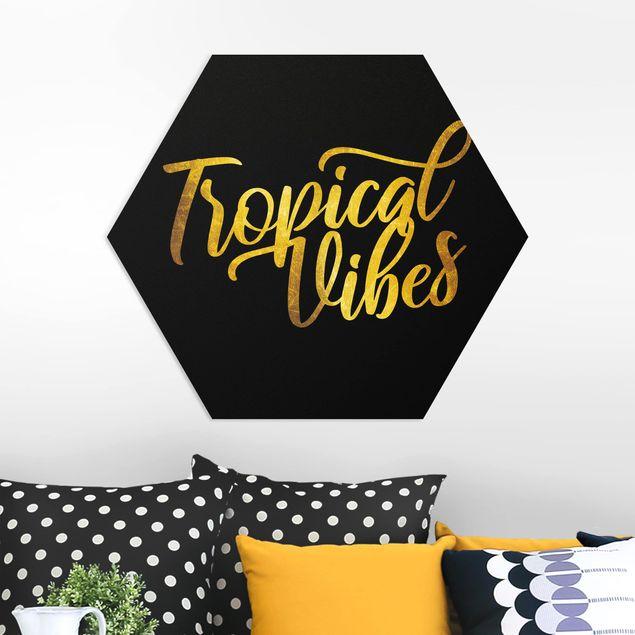 Hexagon Bild Forex - Gold - Tropical Vibes auf Schwarz