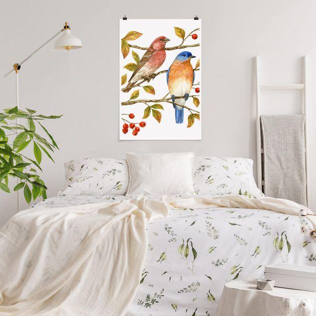 Poster - Vögel und Beeren - Hüttensänger - Hochformat 3:2