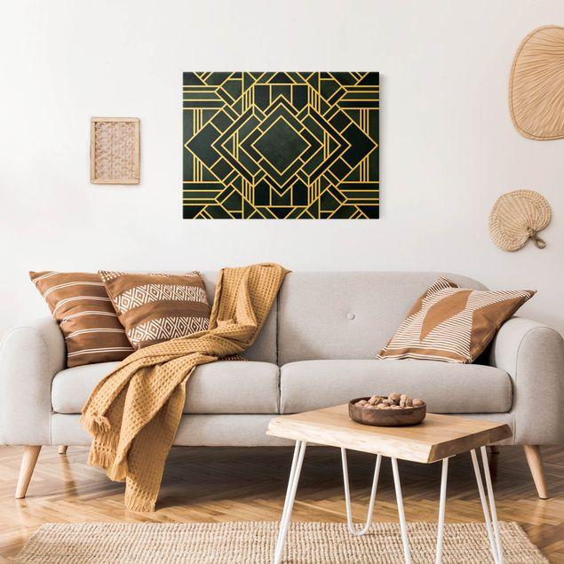 Leinwandbild Gold - Goldene Geoemetrie - Art Deco Blau - Querformat 4:3
