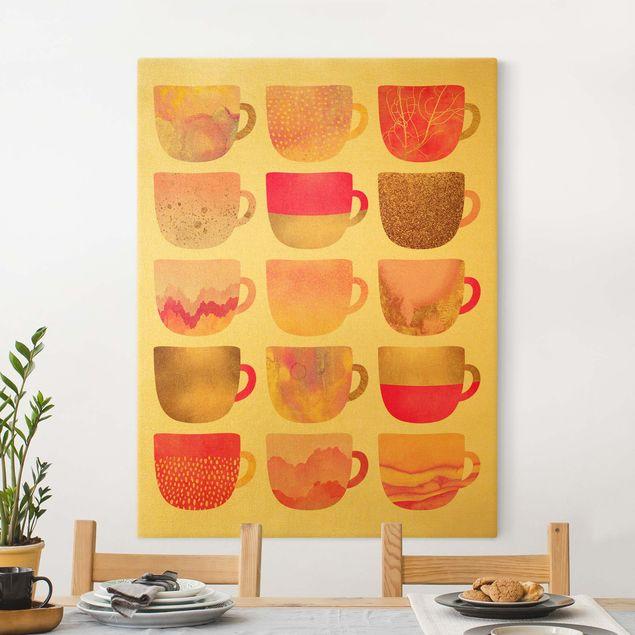 Leinwandbild Gold - Goldene Tassen mit Pink - Hochformat 3:4