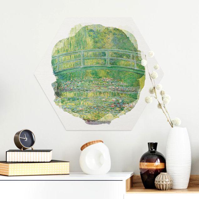 Hexagon Bild Alu-Dibond - Wasserfarben - Claude Monet - Japanische Brücke