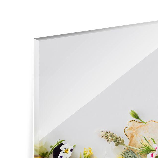 Glas Spritzschutz - Frische Kräuter mit Essblüten - Querformat - 4:3