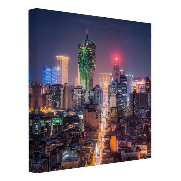 Leinwandbild - Nachtlichter von Macau - Quadrat 1:1