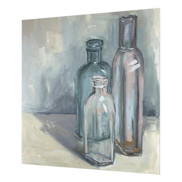 Glas Spritzschutz - Stillleben mit Glasflaschen I - Quadrat - 1:1