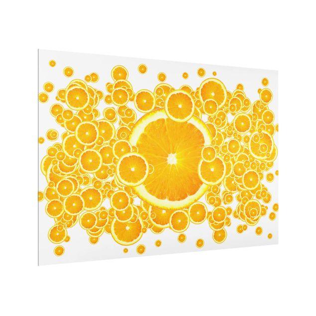 Glas Spritzschutz - Retro Orange Pattern - Querformat - 4:3