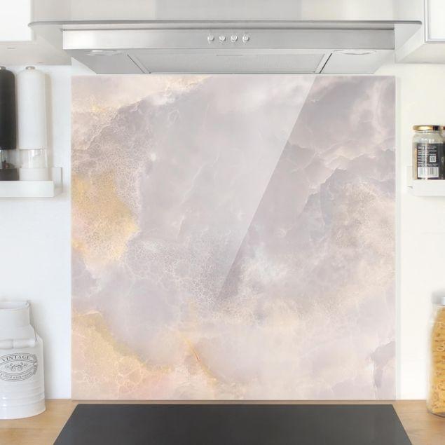 Glas Spritzschutz - Ony: Marmor - Quadrat - 1:1