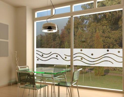 Fensterfolie - Sichtschutzfolie No.UL952 Wellen und Kreise 2 - Milchglasfolie