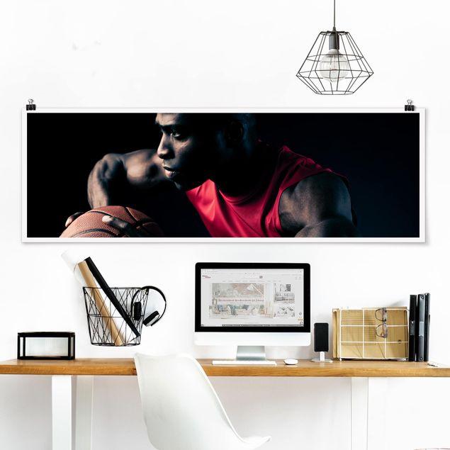 Poster - Nahaufnahme eines Basketballers - Panorama Querformat