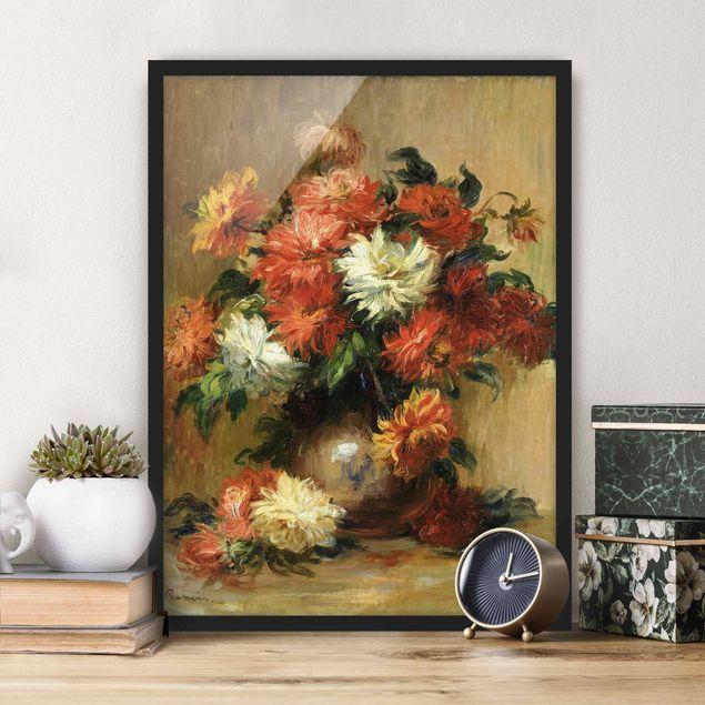Bild mit Rahmen - Auguste Renoir - Stilleben mit Dahlien - Hochformat 3:4