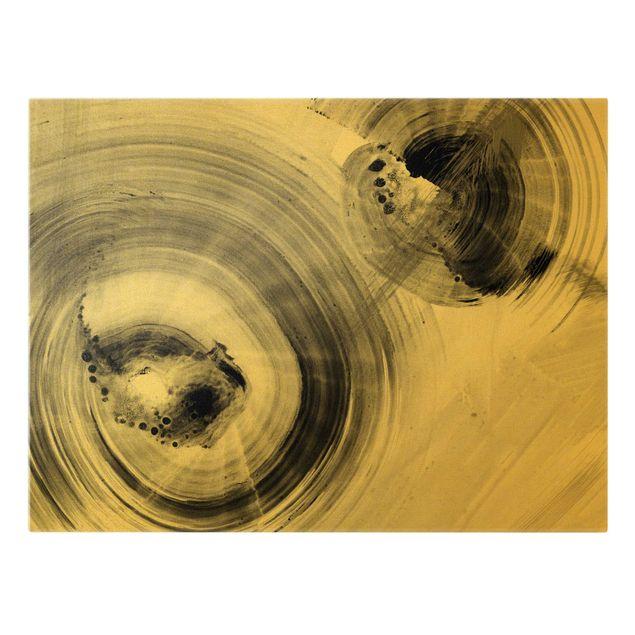 Leinwandbild Gold - Geschwungene Kreise Schwarz Weiß - Querformat 4:3