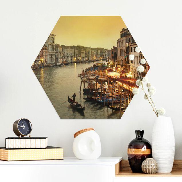 Hexagon Bild Alu-Dibond - Großer Kanal von Venedig