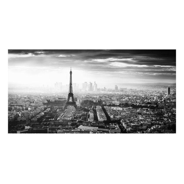 Forex Fine Art Print - Der Eiffelturm von Oben Schwarz-weiß - Querformat 1:2