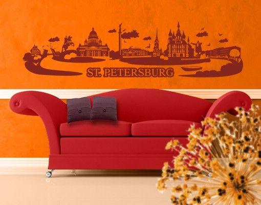 Stadt St. Petersburg - Wandtattoo Skyline - No.JR32 Sankt Petersburg Skyline