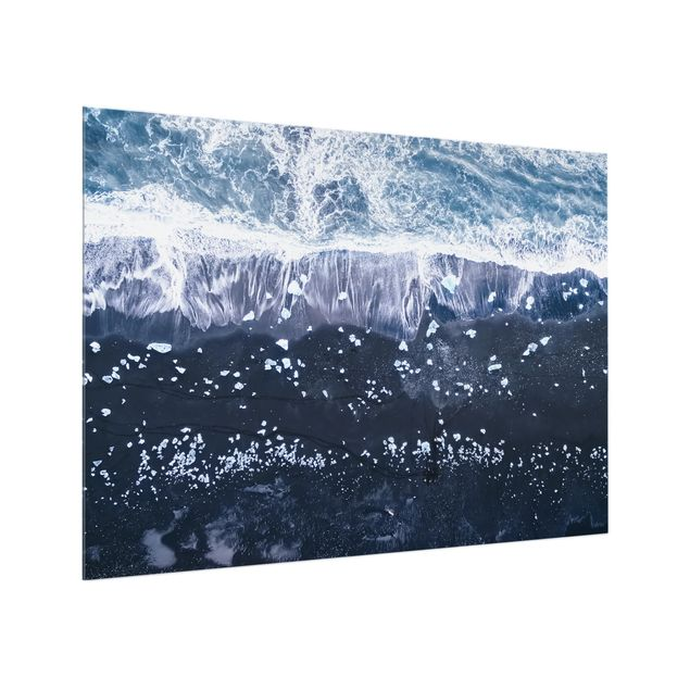 Glas Spritzschutz - Luftbild - Jökulsárlón in Island - Querformat - 4:3