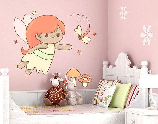 Wandtattoo Babyzimmer No.EV78 Elfchen und Libelle