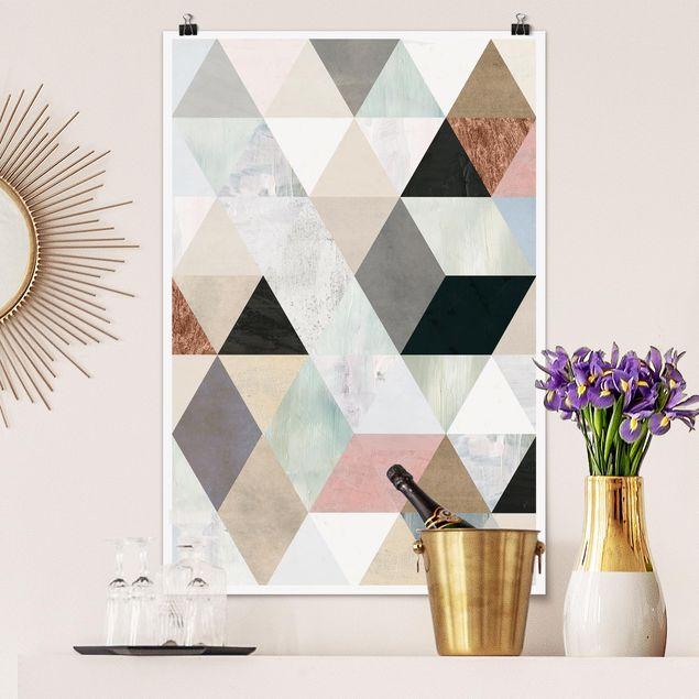 Poster - Aquarell-Mosaik mit Dreiecken I - Hochformat 3:2
