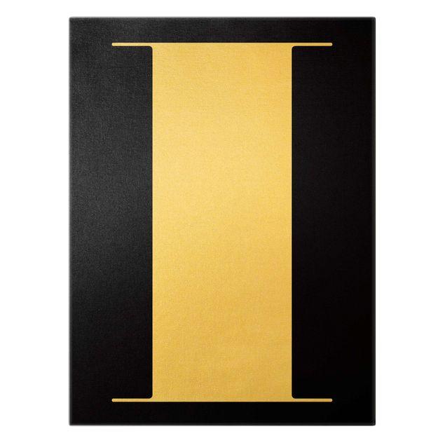 Leinwandbild Gold - Antiqua Letter I Schwarz - Hochformat 3:4