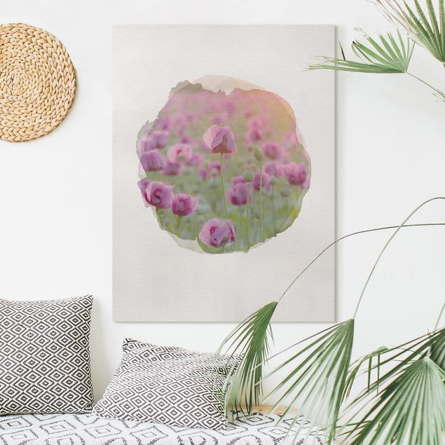 Leinwandbild - Wasserfarben - Violette Schlafmohn Blumenwiese im Frühling - Hochformat 4:3