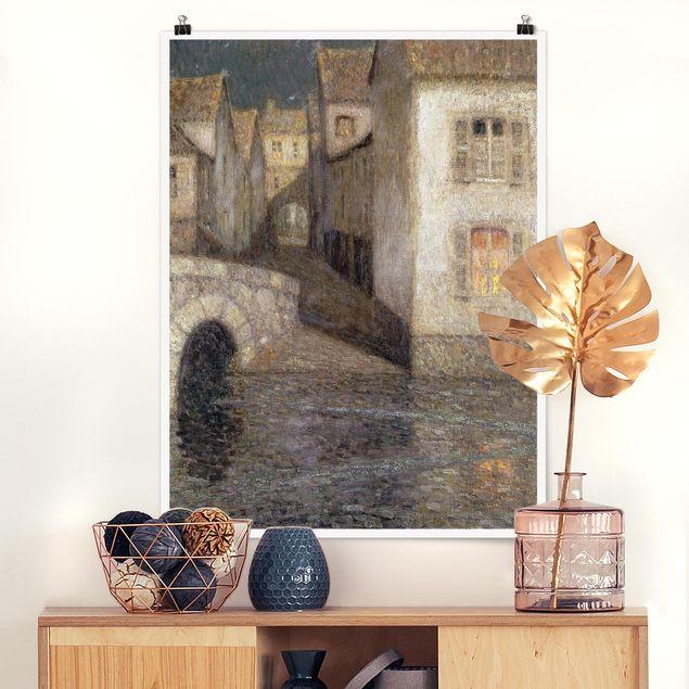 Poster - Henri Le Sidaner - Die Häuser am Fluss - Hochformat 3:4