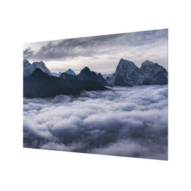 Glas Spritzschutz - Wolkenmeer im Himalaya - Querformat - 4:3