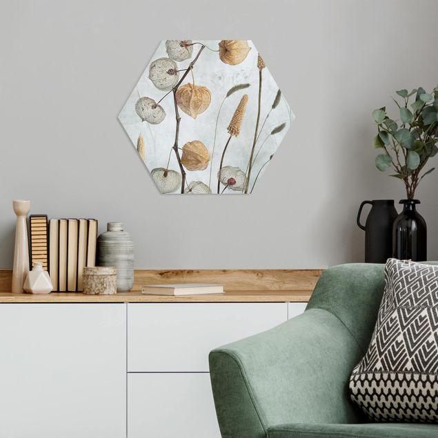 Hexagon Bild Forex - Lampionfrüchte im Herbst