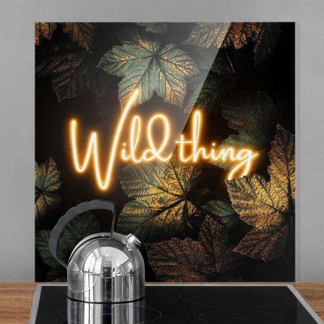 Glas Spritzschutz - Wild Thing goldene Blätter - Quadrat - 1:1